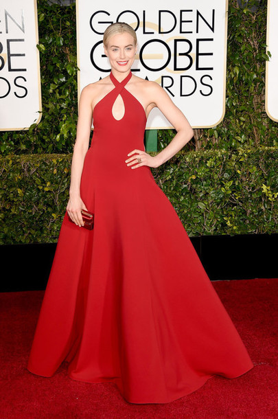 dress taylor schilling red carpet Golden Globes 2015 red dress