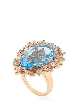 ring rose gold rose gold blue jewels