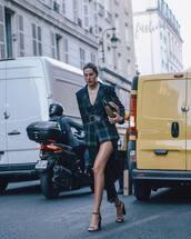 jacket,checkered jacket,belt,dress,sandals,high heel sandals,clutch