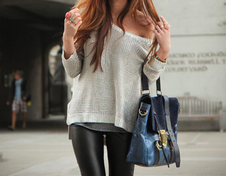 sweater knit wear knitted sweater bag blue gold beige knit sweater blouse leggings knitted cardigan pants leather pants