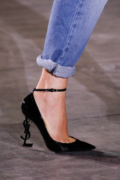 shoes,tumblr,fashion week,pumps,pointed toe pumps,high heel pumps,ankle strap heels,black shoes,ysl,man repeller,blogger,theyallhateus