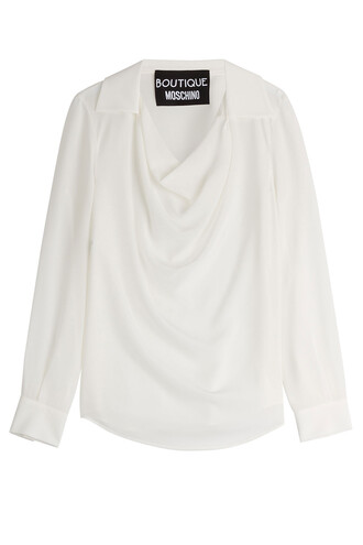 shirt draped silk white top
