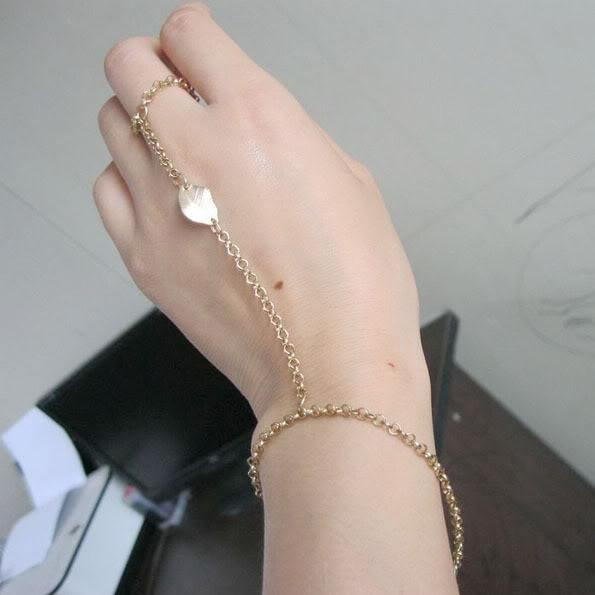 Goldtone Metal Ring to Wrist Bracelet Leaf Linked Chain | eBay