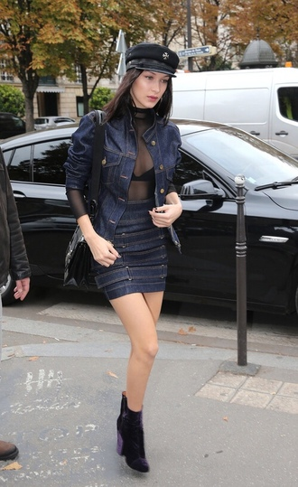 skirt jacket denim denim jacket boots top sheer bra bella hadid model off-duty mini skirt streetstyle bodysuit underwear
