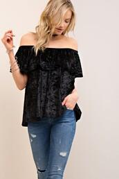 top,velvet,black,ruffle,off the shoulder