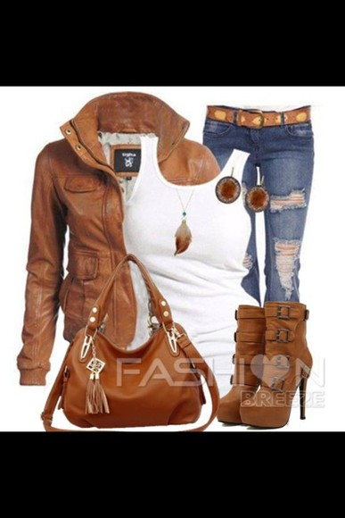 jeans brown jacket cardigan brown high heel boots brown purse