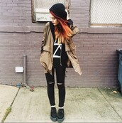 coat,jacket,creepers,Jeans holes,jeans,beanie,black jeans,black ripped jeans,jeggings,black jeggings,beige,beige jacket,brown,brown jacket,t-shirt,lehappy,le happy,hair,fire hair,hair dye,colorful,platform shoes,hairstyles,hipster,indie,tuk creepers,vintage,cute,triangle,fashion,alternative,boho,ombre,blogger,shirt