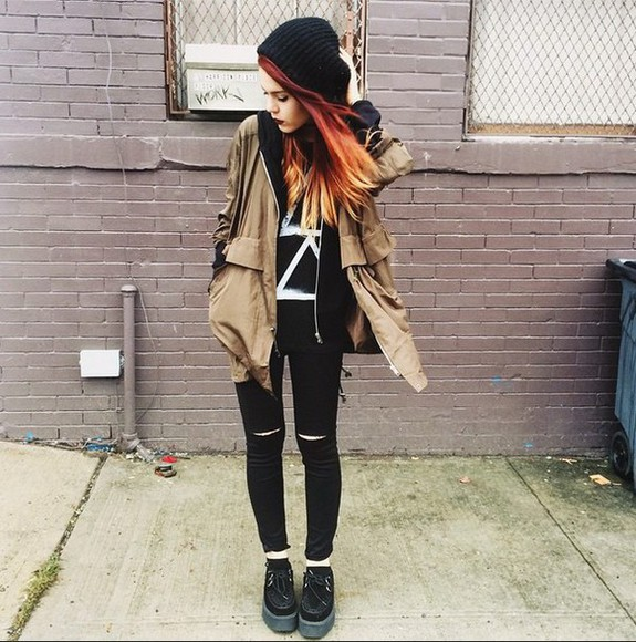 jacket beanie coat jeans t-shirt creepers jeans holes black jeans black jeans ripped jeggings black jeggings beige beige jacket brown brown jacket