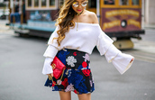 skirt,embroidered skirt,printed skirt,ruffle skirt,mini skirt,off the shoulder top,ruffle sleeves,clutch,gucci clutch,sunglasses,choker necklace,blogger,blogger style