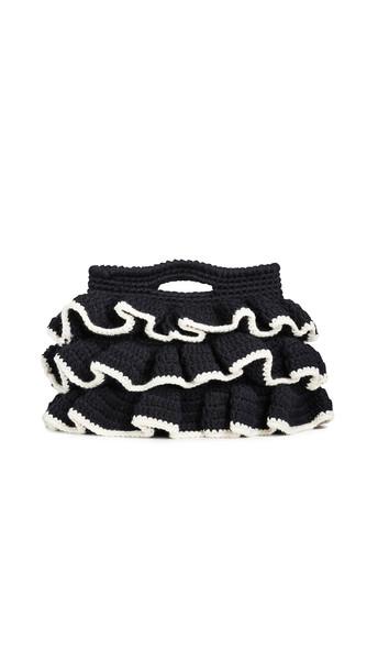 clutch wool knit black bag