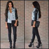 jacket,pu sleeve,leather look,denim jacket,coat