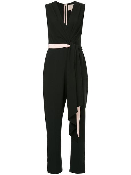 Roksanda jumpsuit women spandex v neck black silk