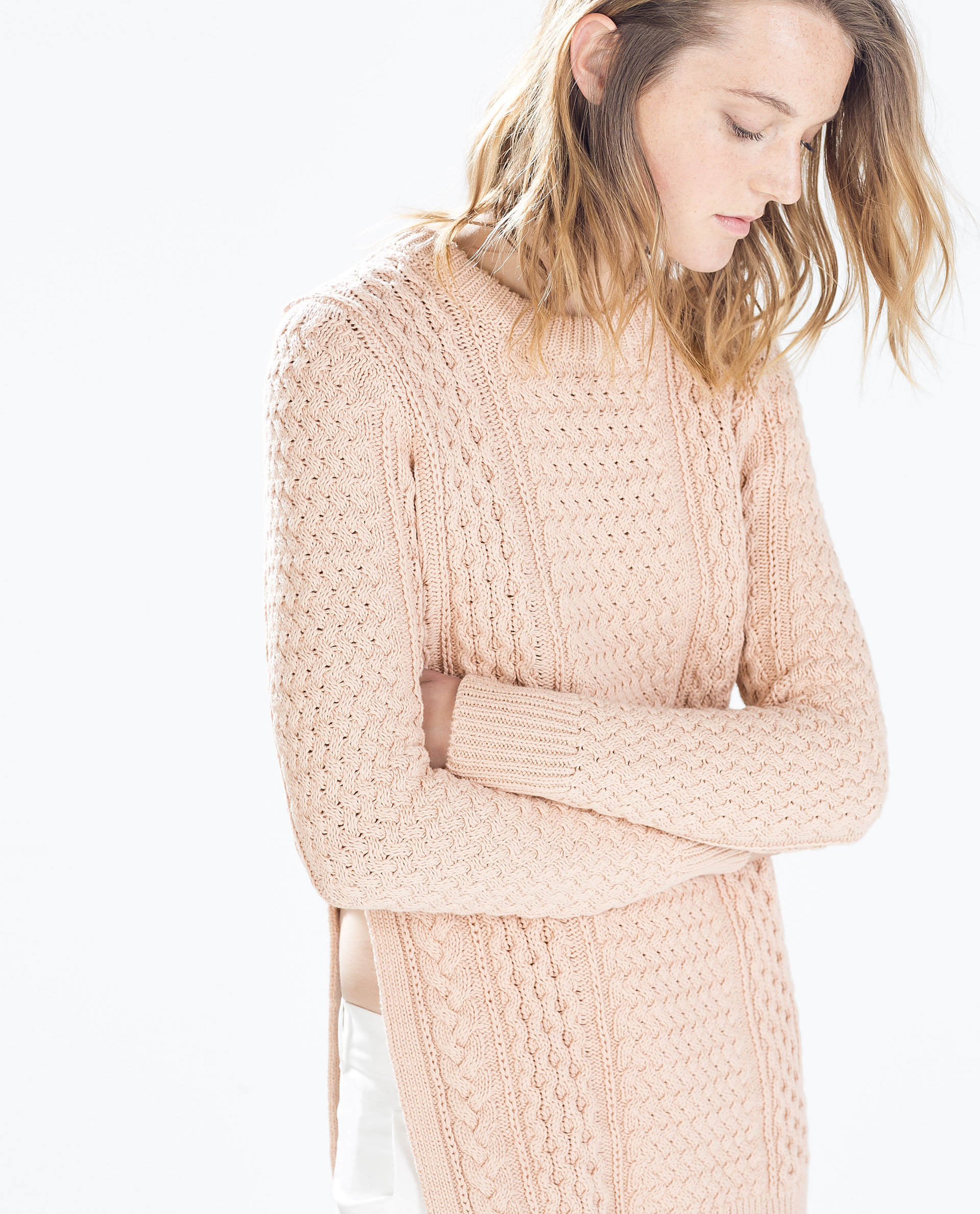 Long cable stitch sweater