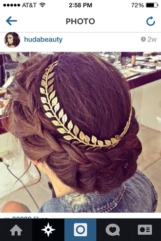 hair accessories gold leaves head crown pretty cute