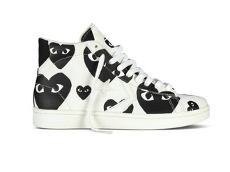 shoes black heart eyes black and white shoes blac and white white shoes comme de garçons