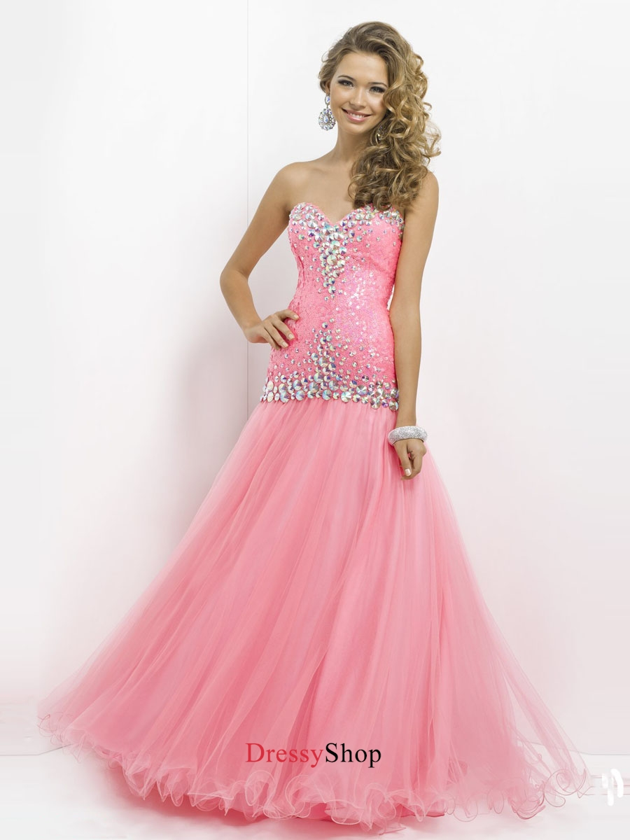 Pretty Pink Sweetheart Beadings Tulle Prom Dress PD11694