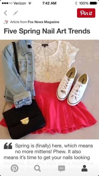 skirt crop tops skater skirt circle skirt floral top converse shoes shoes