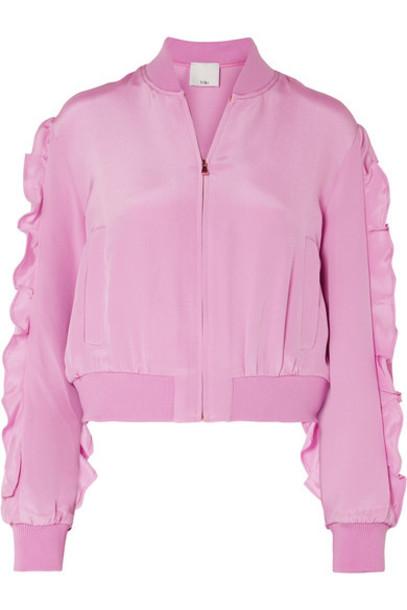 Tibi jacket bomber jacket silk pink
