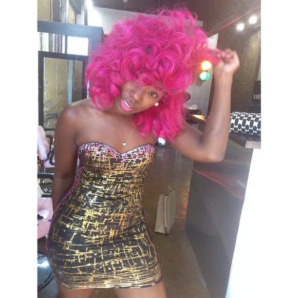 gold sequins gold black dress sexy cute black dresses silver pink hair pink curly hair splattered paint splash summer dress summer outfits fashion style cute dress sexy dress