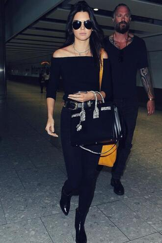 top crop tops off the shoulder kendall jenner all black everything leggings sunglasses bag