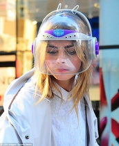 hat,cara delevingne,helmet,galaxy print,vintage,90s style,victoria's secret model,neon,white,shirt,jacket,sweater