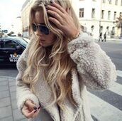 jacket,faux fur jacket,fur,fuzzy coat,white fluffy coat,sunglasses,white winter outfit,coat,fur coat,faux fur,fluffy,sweater