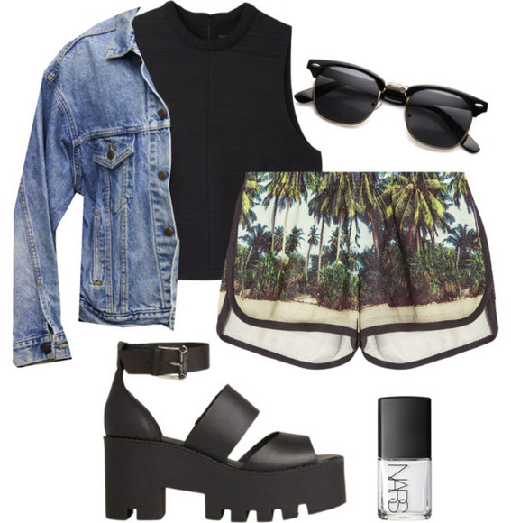 jacket green shorts palm tree print palm tree shorts