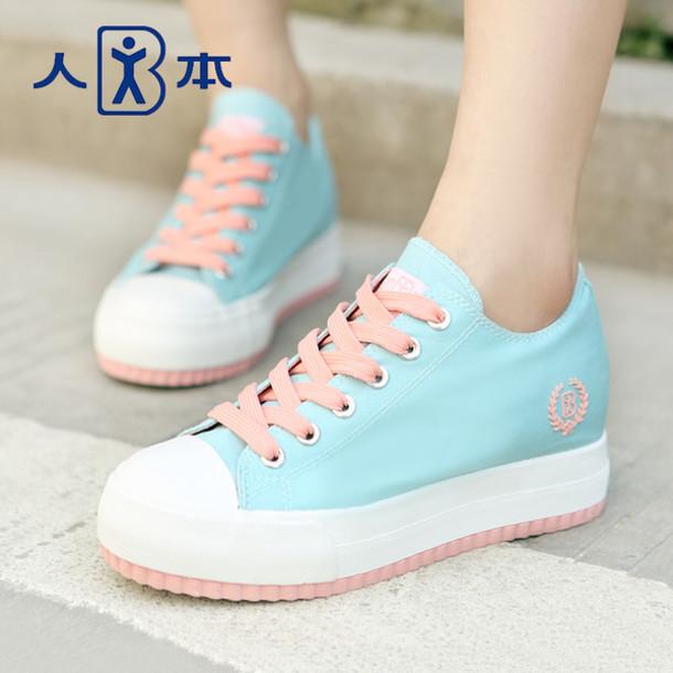 shoes kawaii pastel plateau shoes sneakers pink