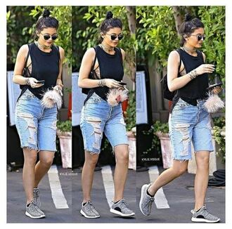 shorts top sneakers kylie jenner denim shorts shoes underwear