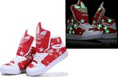 shoes,adidas,sneakers,glow in the dark,stars,red,white