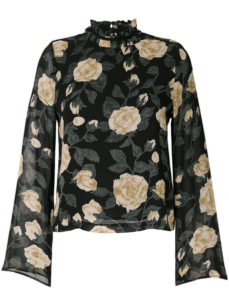 Ganni - floral printed blouse - women - Viscose - 38, Black, Viscose