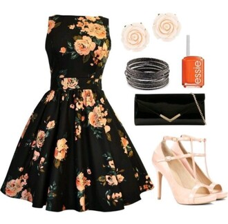 dress floral dress floral pattern floral pattern dress black dress beautiful formal dress cute wheretofindit