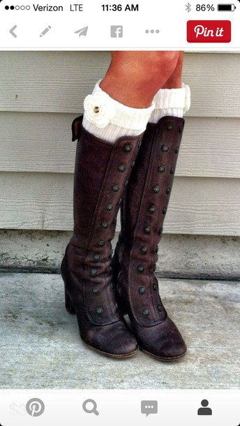 shoes brown leather heeled boots with buttons on the front