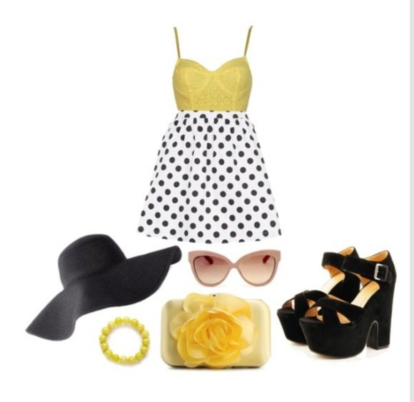 skirt shoes crop tops polka dots bag hat sunglasses