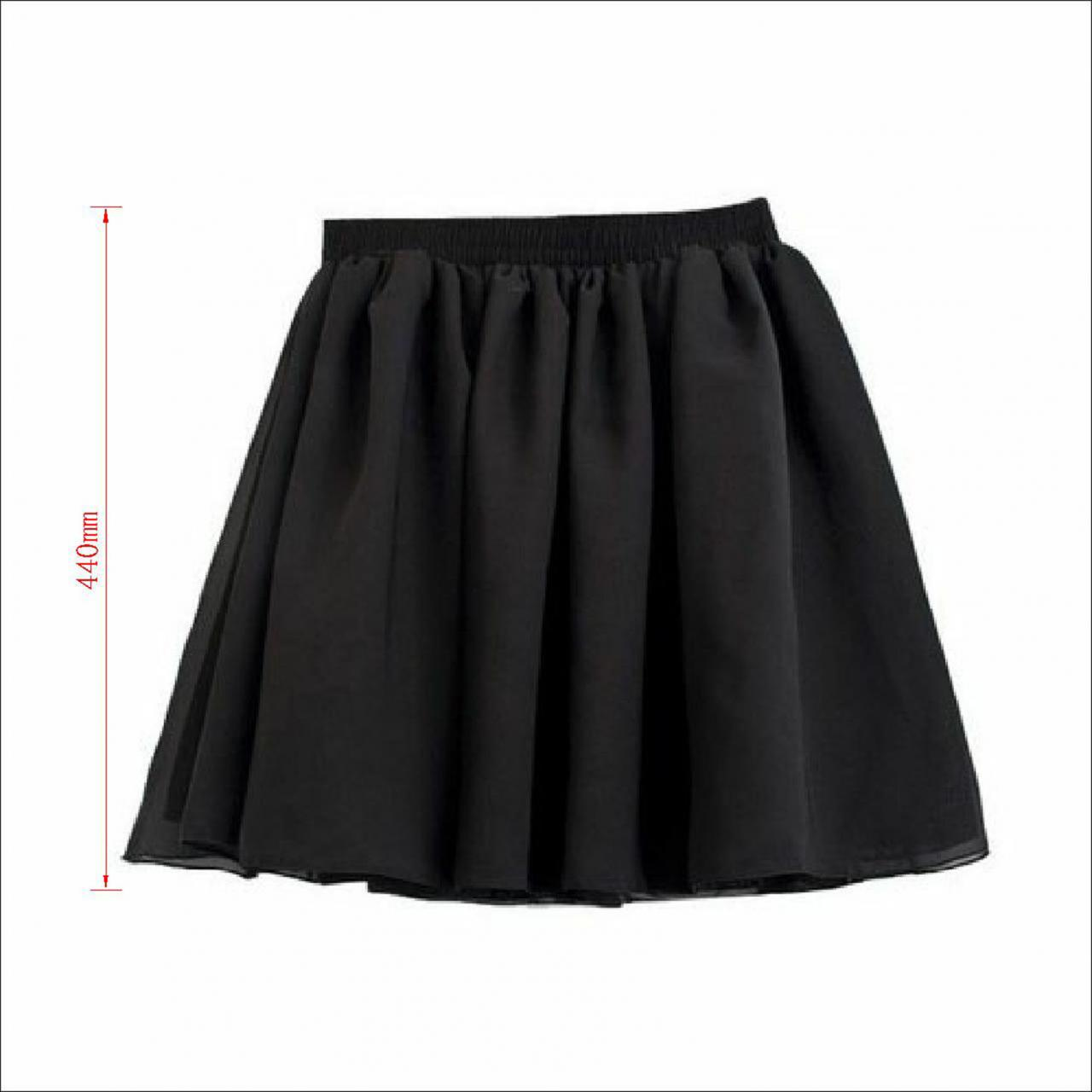 Vogue Lady Retro High Waist Pleated Double Layer Chiffon Short Mini Skirts Dress on Luulla