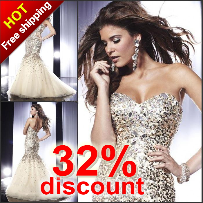 Free Shipping Europe Mermaid Sweetheart Tulle Sequined  Prom Dresses 2013 Evening Dresses With Crystals Wedding&Event(MD198)-in Evening Dresses from Apparel & Accessories on Aliexpress.com