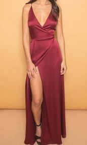 dress,maroon/burgundy,silk,wrap dress,slip satin dress,burgundy dress,prom dress,red dress,prom,red,slit,plunge v neck,satin,gown,sexy dress,clothes,maxi dress,wine red