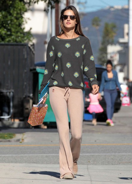 pants sweatpants alessandra ambrosio sweater top