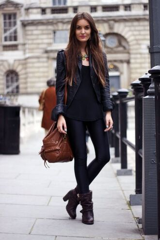 shoes black tank top black leather jacket black jeans brown bag heel boots blogger