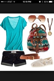 bag,aztec,perfectsummergetup,backpack,tribal pattern,colorful leggings,summer,cute,shorts,shirt,shoes,woven backpack,top
