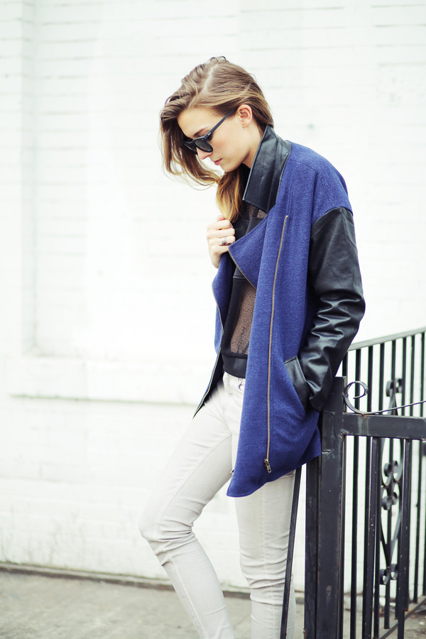 le fur coat sweater jacket jeans shoes sunglasses