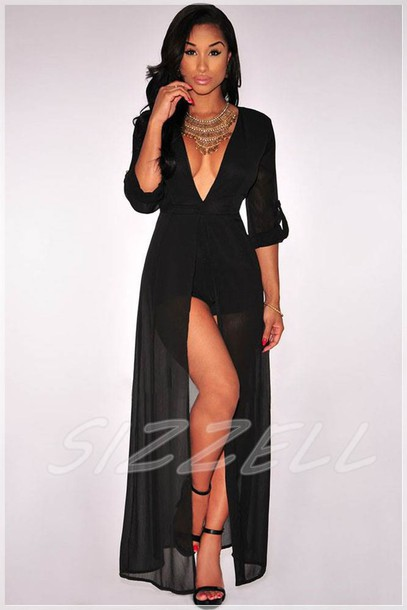 Romper Dress Jumpsuit Black Playsuit Sheer Black Maxi Dress