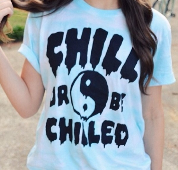 shirt t-shirt tumblr girl tumblr clothes instagram yin yang chillin hipster light blue cute top
