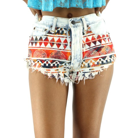 YCMC.com & Shoe City  East Coast Retail Ripped Tribal Denim Short