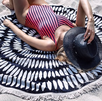 the classy cubicle blogger sunglasses one piece swimsuit red swimwear stripes black hat beach summer outfits