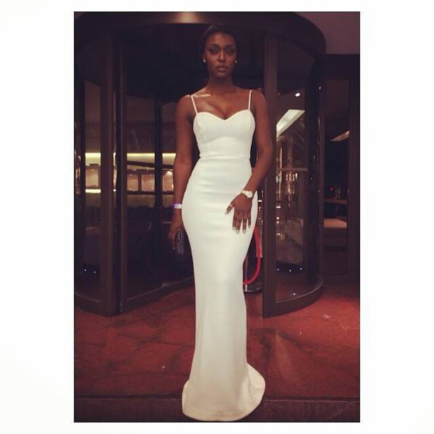 dress bodycon dress dress bodycon dress white dress help me find black girl prom prom dress prom prom gown celebrity style white gown