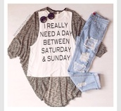 cute,hate mondays,white,jeans,quote on it