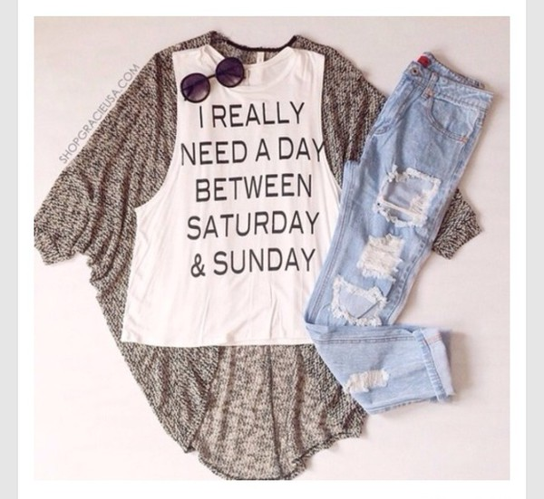 cute hate mondays white jeans quote on it