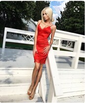 dress,red,coral,lace,midi,bodycon,satin,silk,straps,tight,red dress