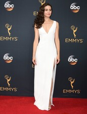 dress,emmy rossum,emmys 2016,white dress,gown,prom dress,plunge dress,red carpet dress